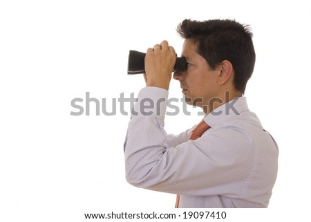 A business man looking with binoculars