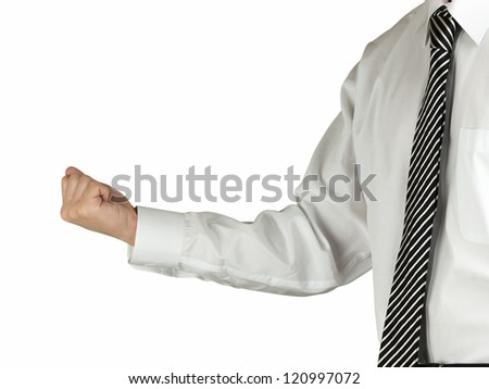 A business man pumping his fist into the air isolated on white background