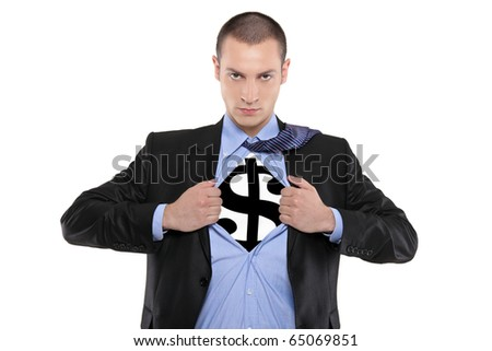 A business man tearing open his shirt to reveal a dollar sign isolated on white background