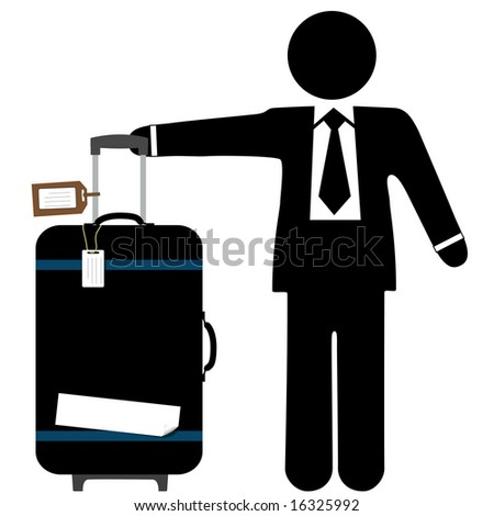A business man traveler with a black suitcase, pull handle up, and copyspace on luggage tags and sticker tape.