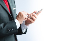 A business man using smartphone
