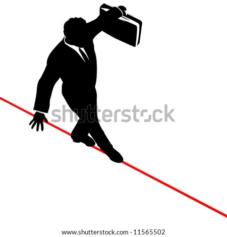 A business man walks a high wire tightrope, above risk and danger, the businessman balances with a briefcase.