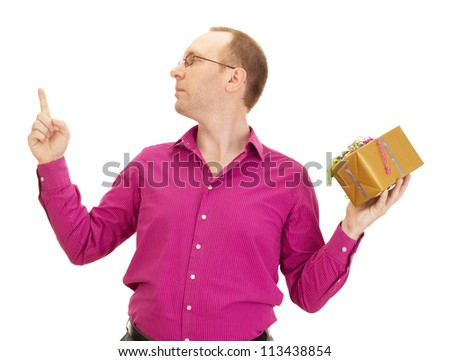 A business person juggling with two colorful gifts