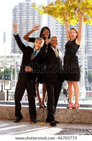 A business team celebrating success