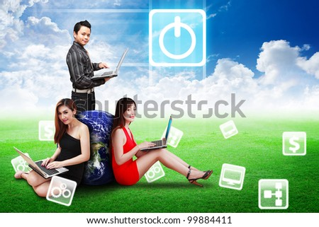 A business team present the Power icon on the blue sky : Elements of this image furnished by NASA