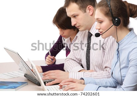 A business team working - stock photo