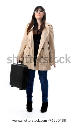 a business woman holds a briefcase