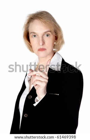 A business woman is very angry and shows her finger