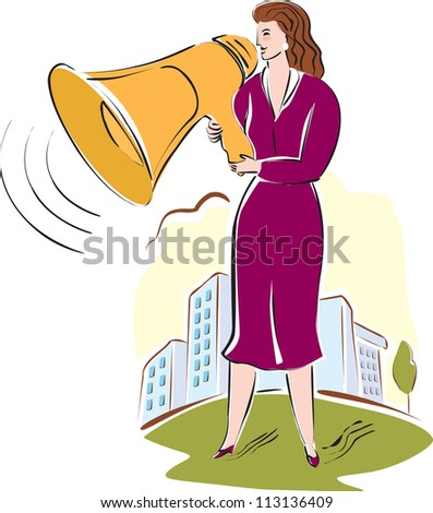 A business woman talking through a megaphone