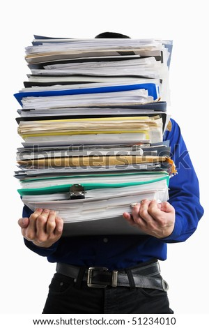 A businessman carrying pile of paperwork, over white background