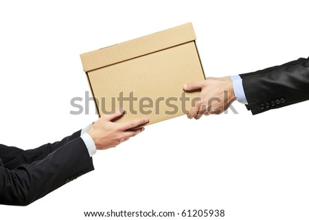 A businessman delivering a package to a man isolated on white background