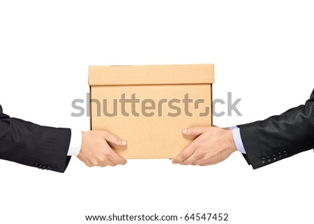 A businessman delivering a paper box to a man isolated on white background