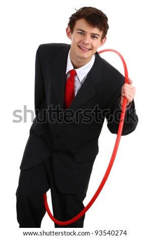 A businessman going through a hoop to show challenges, isolated on white