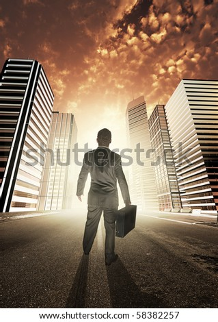 A businessman heading into a new city, exploring new opportunities.