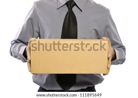 A businessman holding a package parcel isolated on white