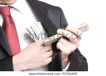 A Businessman Holding Money on white background