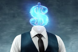 A businessman in a business suit with a dollar sign instead of a head, a dollar head. The concept of money addiction, working only for money, business, startup, career