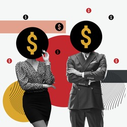 A businessman in a business suit with a dollar sign instead of a head. The concept of money addiction, working only for money, business, startup, career Creative collage