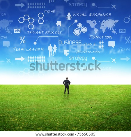 A businessman in a field with ideas in the sky. Conceptual