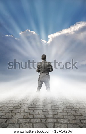 A businessman looking to the future. - stock photo