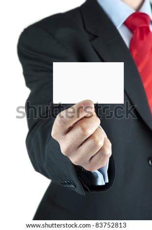A businessman offering business card
