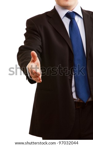 A businessman offering to shake your hand - isolated on a white background