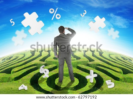 A Businessman on a maze, watching puzzles.