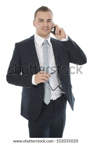 a businessman on the phone, against a white background