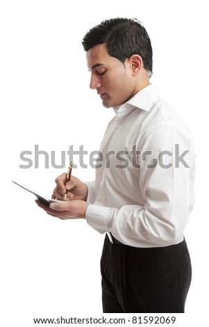 A businessman or waiter wriring in a notebook or taking an order.  White background.