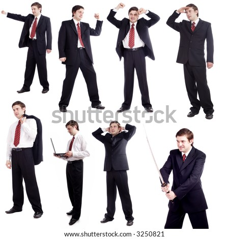 A businessman poses collection. Isolated on white.