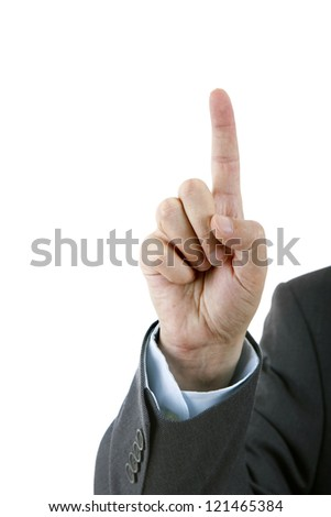 A businessman pressing a virtual button isolated against a white background