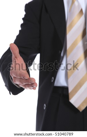 A businessman reaches out to somebody. All on white background.