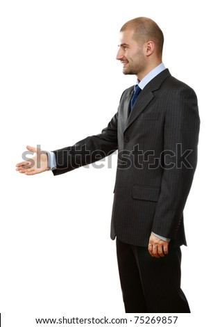 A businessman's handshake, side-view