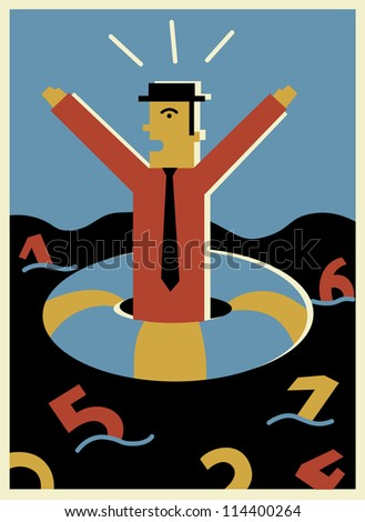 A businessman shouting for help while drifting in a sea of numbers