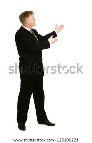 A businessman showing something , isolated on white background