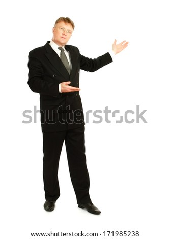 A businessman showing something, isolated on white background