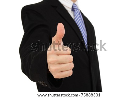 A businessman showing the thumbs up