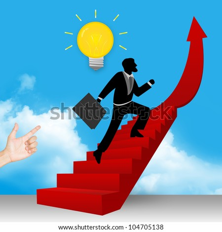 A Businessman Step Up to Top of The Arrow Stairway