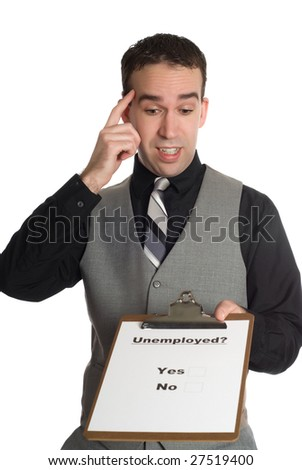 A businessman taking a poll on how many people are unemployed, isolated against a white background