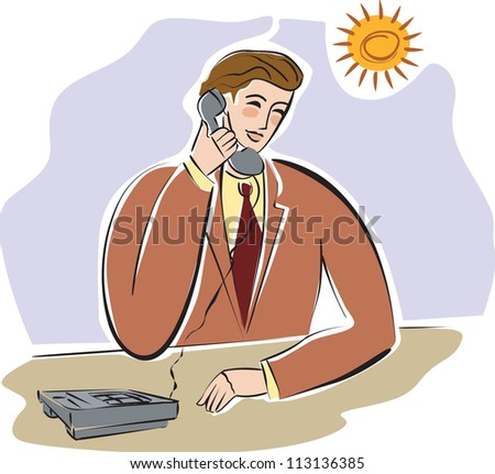 A businessman talking on the telephone
