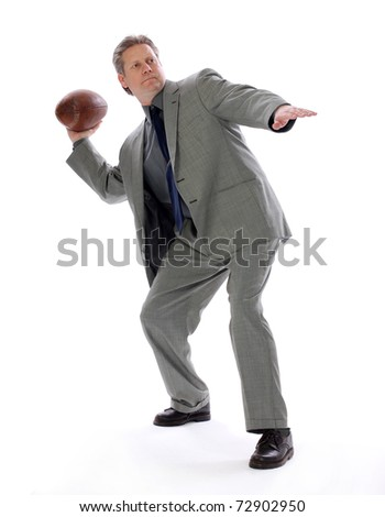 A businessman throwing a football aims for success with positive direction