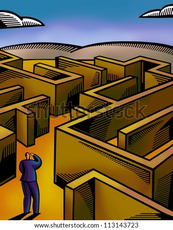 A businessman walking through a maze