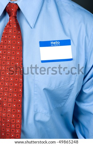 blank shirt tag. a lank nametag and bright