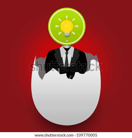 A Businessman Who Have The Light Bulb Road Sign on Head Stand Inside The Broken Egg With Red Glossy Background