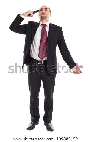 A businessman with a handgun committing suicide