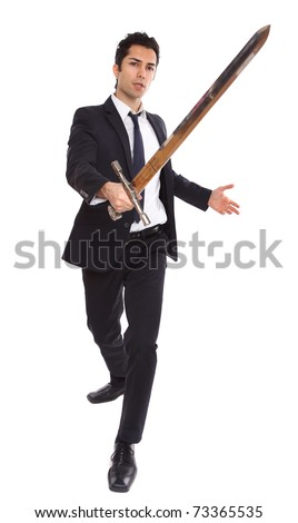 A businessman with a long sword in attacking stance