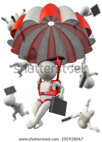 A businessman with a parachute falling safety. Several businessman in background falling without control