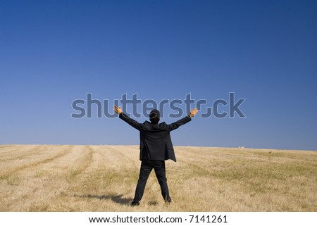 a businessman with his arms  outstretched in the field