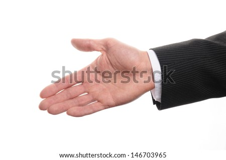 a businessman with open hand and ready to shake your hand