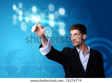 A businessman working on modern technology